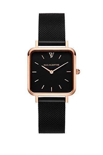 PAUL VALENTINE ® Damenuhr Glossyedge Uhr aus Edelstahl mit Mesh Armband Edle Damen Uhr mit japanischem Quarzwerk - Armbanduhr für Damen (Rose Gold Black Mesh Black)