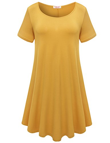 BELAROI Womens Comfy Swing Tunic Short Sleeve Solid T-Shirt Dress (L, Yellow)
