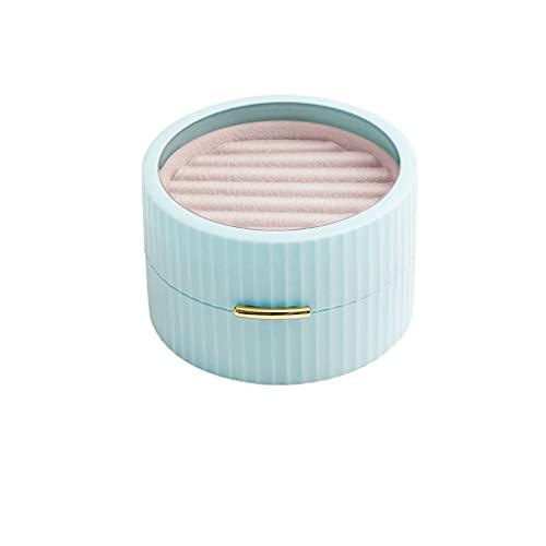 ZWS Joyero Caja de joyería pequeña y Exquisita portátil, Apertura magnética Fuerte y Caja de Almacenamiento de Joyas de Cierre para Anillos Pendientes Collar Caja de joyería (Color : Blue)