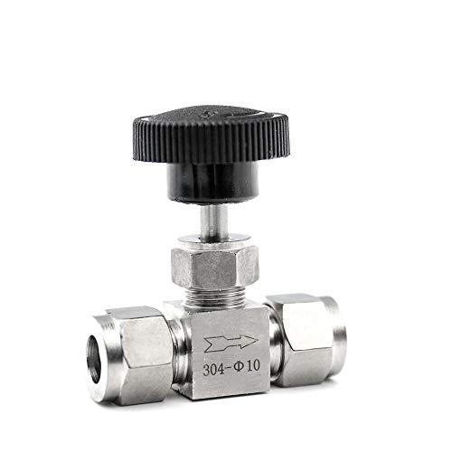 YIJIAN-UMBRELLA Válvula de Aguja Ajustable OD 3 4 6 8 10 12 mm 3/8 1/2 Pulgadas de Tubo de Cocina Interruptor de detención por compresión Fifing 304 Ácido Set Crane (Specification : 6mm OD)