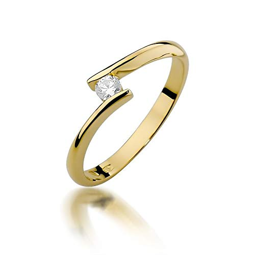 Women's Solitaire Promise Ring Engagement Proposal Ring 585 14 Carat Gold Natural Real Diamond Diamonds Diamonds 58 (18.5) yellow gold