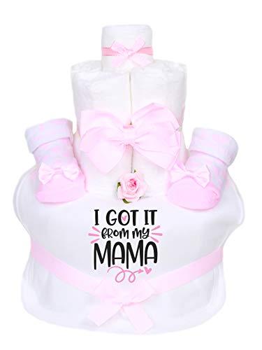 TrendMama Windeltorte Mädchen mit Baby Haarband + Babysocken Schleife+ Lätzchen handbedruckt-I got it from my Mama