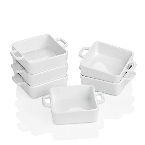 Porcelain Ramekins for Baking, Souffle Dishes Bakeware Set, 7 OZ Oven Safe Square Double Handle Ramekins for Pudding, Custard, Dipping, Dessert Bowls, Creme Brulee Dishes,Set of 6, 4.0 x 4.0 x 1.5 in