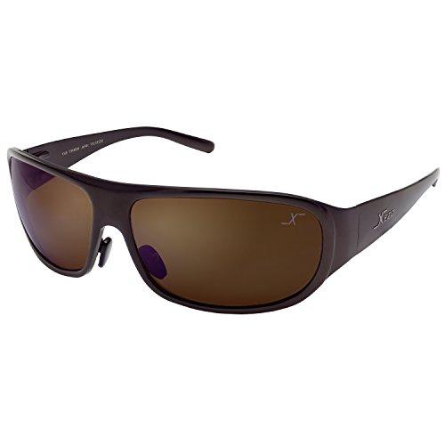 Xezo UV 400 Base Curve 8, occhiali da sole polarizzati in titanio massiccio con lente marrone, finitura color caffè metallizzata, 1,7 oz