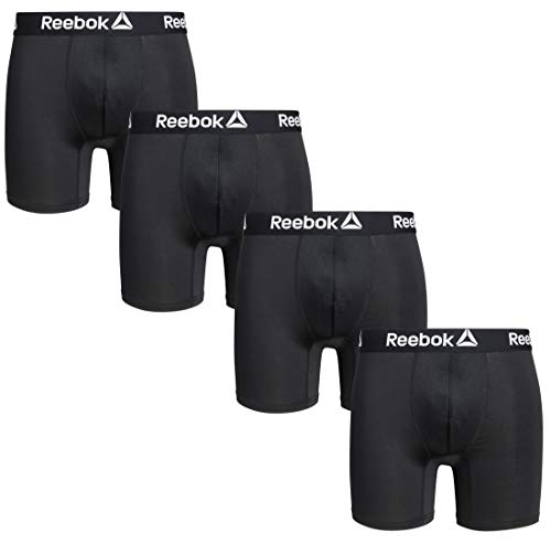 Reebok Men's 4 Pack Performance Boxer Briefs with Comfort Pouch,Blacks, Size Large'