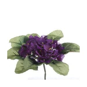 Bulk Case 144 Purple Ruffled Artificial African Violet Bush for Holiday Decorations and Crafting