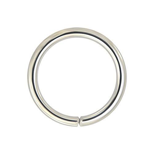 14K Massive Weißgold 18 Gauge - 8MM Durchmesser Nahtlose kontinuierliche offene Hoop Nasenring Nase Piercing