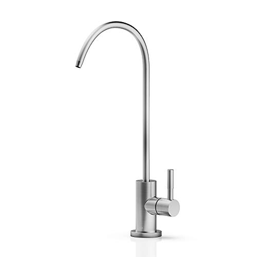 FORIOUS faucet water filter for kitchen sink, Lead-Free Drinking Water Faucet brushed nickel,stainlees steel cold water faucet Fits most Water Filtration System in Non-Air Gap
