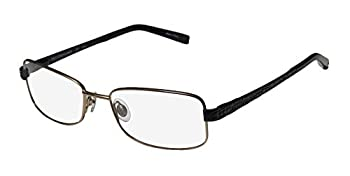Trussardi 12706 Mens/Womens Designer Full-Rim Shape Spring Hinges Stunning Spectacular Ladies Eyeglasses/Eyewear  52-17-135 Gold/Black