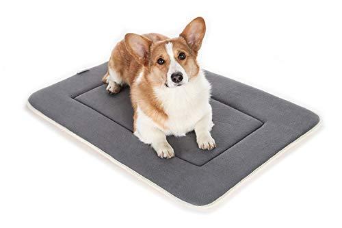 QIAOQI Dog Bed Crate Mat 48' Grey Kennel Pad   Washable Orthopedic Pillow...