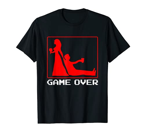 Game Over Boda Matrimonio Novio Soltero Gamer Gaming Camiseta
