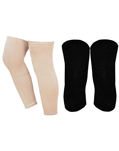 Hind Home Women's Wool Knee Warmer Winter Protective Knee Cap Woolen Knee Sleeves for Women & Men - Stretchable Free Size Winter Wear , Black & Beige