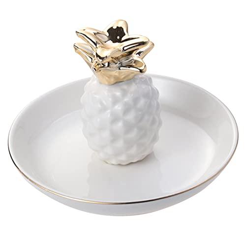 Toyvian Joyería anillo pulseras plato bandeja organizador titular diseño piña cerámica bandeja bandeja plato plato plato para el hogar hawaiano fiesta decoración blanco