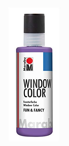 Marabu 04060004007 Window Color Fun & Fancy Peinture Transparente à Base d'eau Amovible sur Surfaces Lisses comme Le Verre, Le Miroir, Le carrelage et Le Film 80 ML Lavande