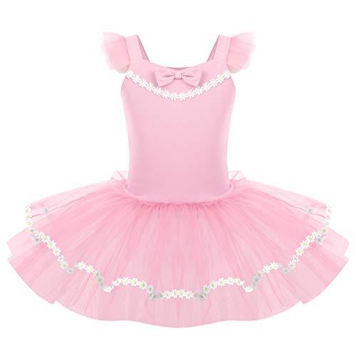 IMEKIS Ragazze Ballerina Vestito da Balletto Ginnastica Danza Body Principessa Fiore Tuta Intera Basic Dancewear con Gonna in Tulle Costume da Ballo Rosa 3-4 Anni