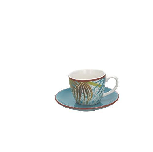 Tognana ME685015528 New Bone China - Juego de 6 tazas de café con plato