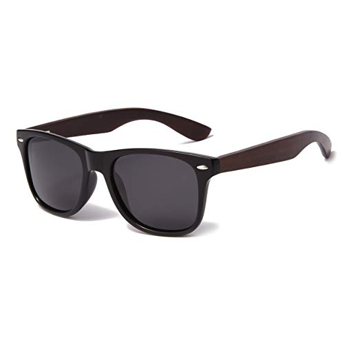 YAMEIZE Wood Sunglasses Polarized for Women Men 100% UV Protection Fishing Driving Wooden Bamboo Frame Glasses (Black Grey)