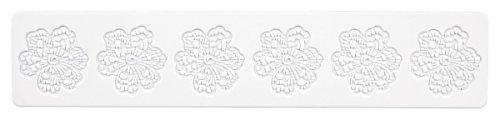 Städter Bordüren- Matte Blüte Backform, Silikon, weiß, 39,5 x 8 cm