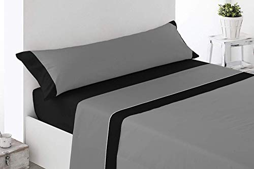 ENERGY HOGAR - IMBRO - Juego SÁBANAS Completo 3 Piezas Verano (105_x_190/200_cm, Grey)