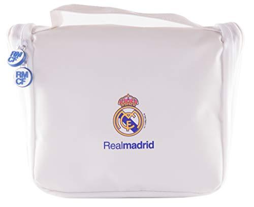 Real Madrid Neceser de Viaje - Producto Oficial del Equipo, con Percha para Colgar y Varias Alturas para Guardar Artículos de Aseo