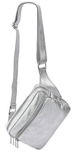 SH Leder echt Leder Hüfttasche Damen Herren unisex Bodybag Gürteltasche für Reise Festival Bauchtasche große Crossbody Bag Frauen Ledertasche 24x19cm Alena G548 (Silber)