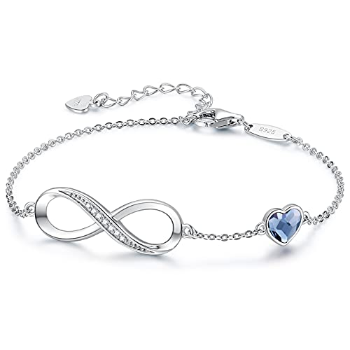 CDE Infinity Heart Symbol Charm Bracelet for Women 925 Sterling Silver Adjustable Mother's DayJewelry Gift Birthday Gift for Mom Women Wife Girls Her