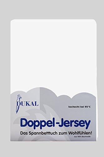 Dukal, Spannbettlaken kochecht, 90x200-100x200 cm, hochwertiger DOPPEL-Jersey (100% Baumwolle), Weiss