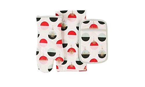 Kate Spade Holiday Colorblock Ornaments Three Piece Kitchen Set,Oven Mitt,Potholder,Kitchen Towel