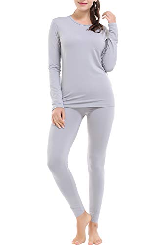 Thermal Underwear for Women Fleece Lined Basic Long John Set Ultra Soft Grey