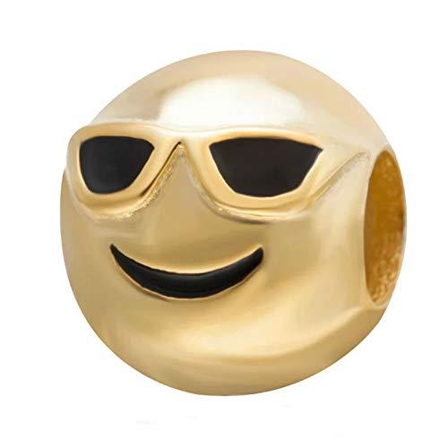Barina Charm Emoticono Gafas de Sol Plata de Primera Ley chapada en Oro de 18 ktes y Esmalte. Compatibles con Pulseras Pandora.