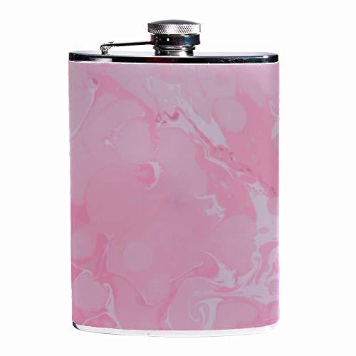 Auslaufsicherer Spirituosen-Flachmann 7,6 Unzen Flagon Mug Lederbezug mit rosa Wellendruck-Taschenbehälter für diskretes Trinken von Whisky Alco