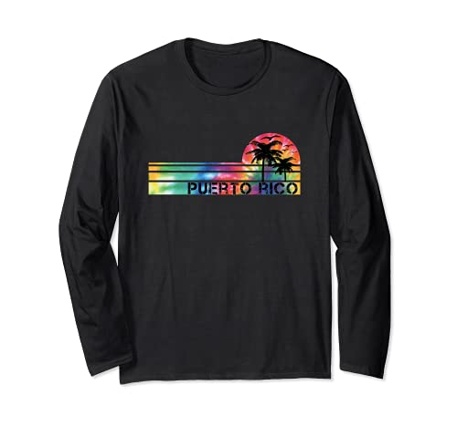 Puerto Rico Tie Dye Vintage Inspired Striped Long Sleeve T-Shirt