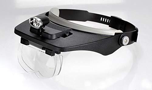 Lupa LED montada en la Cabeza Zoom de 1.2X a 3.5X para Lectura, lupas de joyería, Relojes y Reparaciones electrónicas (Color : Negro)