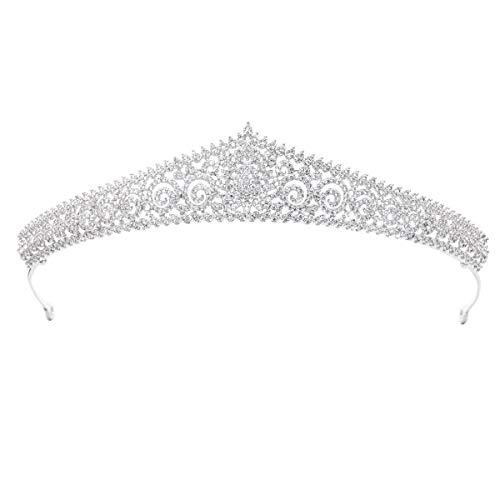 Clásico Tiara de Plata de circonio para Boda, Tiara de Novia de Cristal, Diadema de niñas, joyería para el Cabello para Pary CH10119