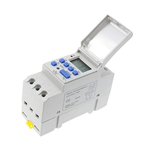 H HILABEE Interruptor Temporizador Programable Digital de Montaje en Riel DIN AHC15A 24 V CC 168 Horas