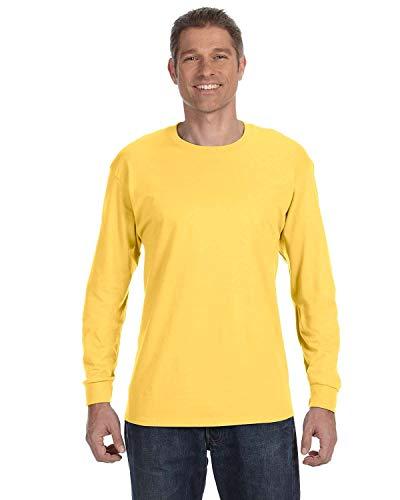 Jerzees Men's Heavyweight Blend 50/50 Long Sleeve T-Shirt (Island Yellow, X-Large)