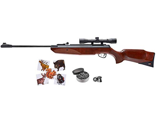 Wearable4U Forge 490 Break Barrel .177 Cal Air Rifle Includes 4x32mm Scope and Rings 500x Pellets and 100x Targets Bundle