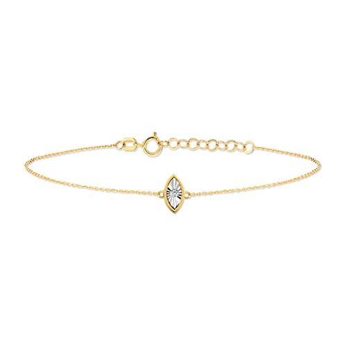 GELIN Pulsera ajustable de oro macizo de 14 quilates de 0,01 quilates con cadena de eslabones de diamante auténtico para mujer