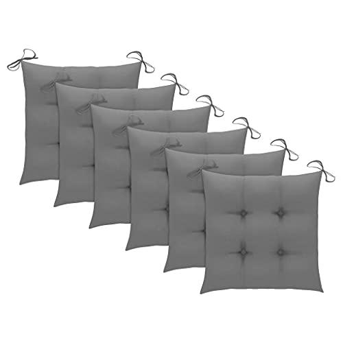 vidaXL 6X Coussins de Chaise Coussins de Siège Coussins de Chaise de Salle à Manger Patio Terrasse Jardin Extérieur Gris 40x40x7 cm Tissu