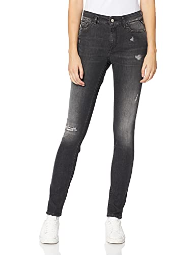 Replay Damen Luzien Broken Edge Jeans, Grau (097 Dark Grey), 27 W / 30 L