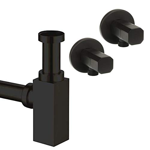 Juego de sifón de diseño cuadrado, color negro mate, con válvula de esquina / desagüe para lavabo, desagüe, juego de desagüe, sifón, tubo de sifón