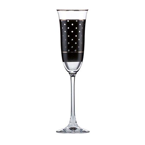 Goebel Dots Sektglas, Sektflöte, Glas, schwarz-weiß, 25 cm