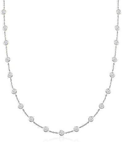 Ross Simons 20 00 ct t w Bezel Set CZ Station Necklace in Sterling Silver 36 inches product image