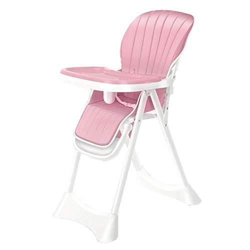 CCLLA Klappbarer Babyhochstuhl zum Essen, Baby- / Kleinkind-Booster mit höhenverstellbarem Sitz und 5-Positionen-Tablett (Farbe: ROSA)