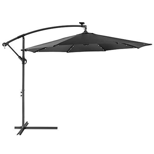 Arebos Parasole con LED | Ombrello da giardino | Ombrello da balcone | Ombrello a manovella | Pieghevole | antracite