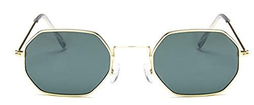 LOPIXUO Gafas de sol Ladies Hexagon Sunglasse Metal Women r Fashion Rimless Clear Ocean Lenses Gafas de sol, dorado verde oscuro