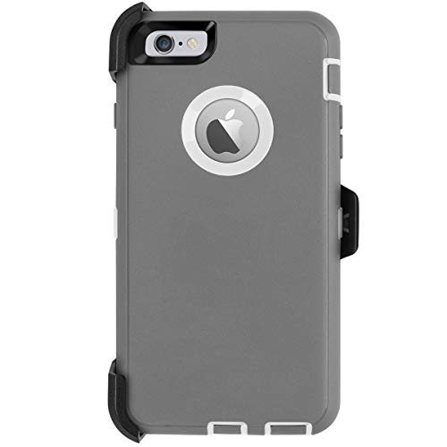 AICase iPhone 6 Plus Case,iPhone 6S Plus Case,[Heavy Duty] [Full Body] Built-in Screen Protector Tough 4 in 1 Rugged Shockproof Cover for Apple iPhone 6 Plus / 6S Plus(Grey/White)