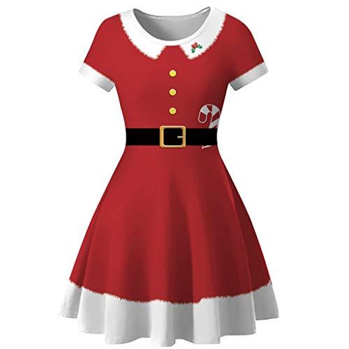Frauen Schneemann Rentier Gedruckt Weihnachten Kleid Damen Jahrgang Oansatz Kurzarm Hohe Taille Kleider