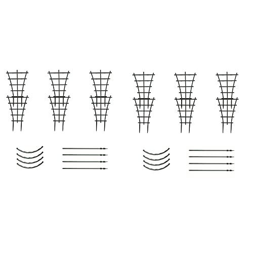 HUIKJI Kletterspalier, Kunststoff, 8 Stück Mini-Pflanzenblätter-Stützstäbe für Kletterpflanzen, Reben, Gemüse, Kletterstäbe, 25,5 cm und 26 cm