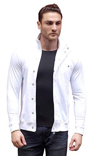 Dream of Glory Inc. Men's Solid Regular Jacket (DOGI-TRACK-JACKET-WHITE_XL_White_X-Large)